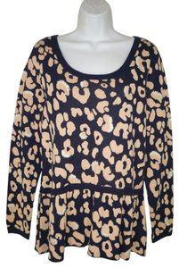 Anthropologie Moth Peplum Cotton Leopard Sweater