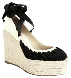 Christian Louboutin Ibiza Espadrilles Lace Up Black and Cream Wedges