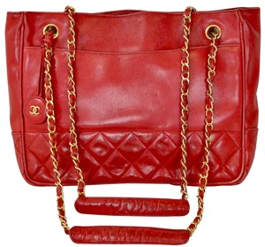 Chanel Lambskin Quilted Tote Shoulder Bag
