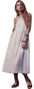 White Maxi Dress by Free People Embroidery Floral Rare