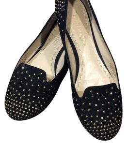 Enzo Angiolini black with gold studs Flats