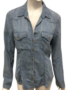 Bella Dahl Denim Western Cowboy Button Down Shirt Denim Blue