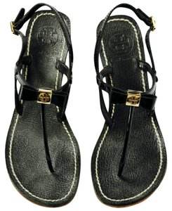 Tory Burch Leather Wedge Black Sandals