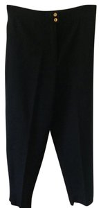 Chanel Vintage Trousers High Waist Baggy Pants Black