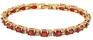 Other ** NWT ** 14K YELLOW GOLD GARNET & SAPPHIRE TENNIS BRACELET