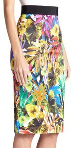 MILLY Pencil Midi Tropical Skirt multi color