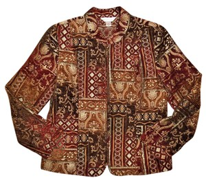 Christopher & Banks Damask Maroon, Brown, Ivory, Orange Jacket
