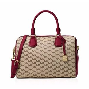 MICHAEL Michael Kors Satchel in Khaki and Red