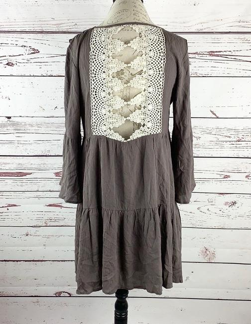 entro short dress Beige/Brown, Ivory Bohemian Hippie Slit Sleeves Tiered Loose on Tradesy Image 2