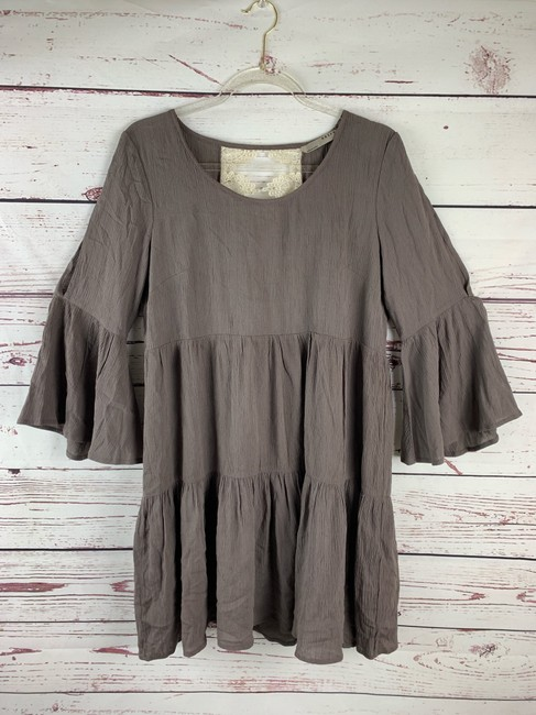 entro short dress Beige/Brown, Ivory Bohemian Hippie Slit Sleeves Tiered Loose on Tradesy Image 3