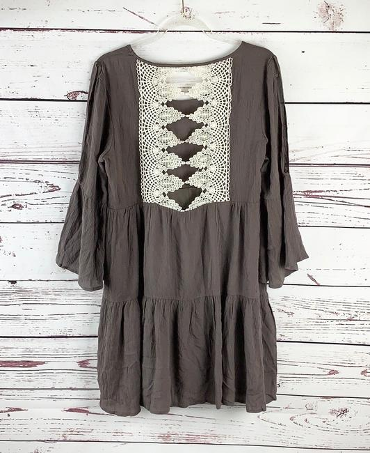 entro short dress Beige/Brown, Ivory Bohemian Hippie Slit Sleeves Tiered Loose on Tradesy Image 4