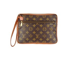Louis Vuitton Monogram Cosmetic Pochette Vintage Brown Clutch
