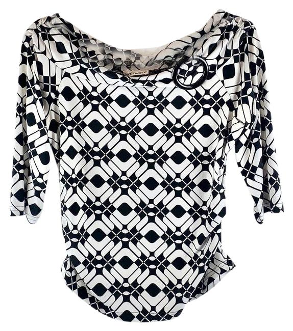 Item - Black White Abstract Print Boatneck Gathered Waist Blouse Size 6 (S)