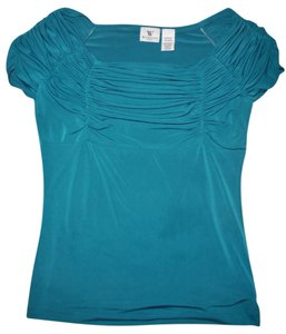Worthington Stretch Fancy Career Office Top Turquoise