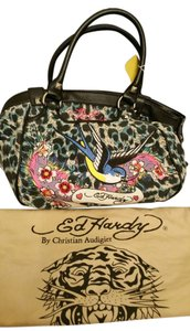 Ed Hardy Forest Animals Rhinestones Birds Flowers Rare Unique Dust Pockets Hobo Bag