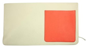 Céline Ivory Orange Clutch