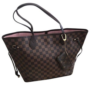 Louis Vuitton Neverfull Mm Pouch Tote in Damier Ebene