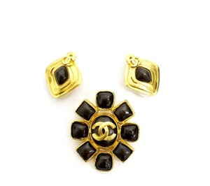 Chanel Vintage Chanel Stone Earrings, Pin Brooch Set Rare Gold