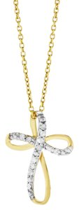 Other 0.15 Ct. Natural Swirl Cross Pendant Necklace In Solid 10k Yellow Gold
