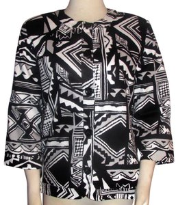 Alfred Dunner & Short Jacket Tribal Print Size 10 Black & White Blazer