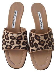 Manolo Blahnik Leopard Pony Hair Leopard Brown Mules