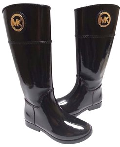 Michael Kors Logo Medallion Rain Rubber Upper Pull-on Style Black Boots