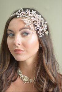Ansonia Bridal Rose Gold Crystal Spray Wedding Headband