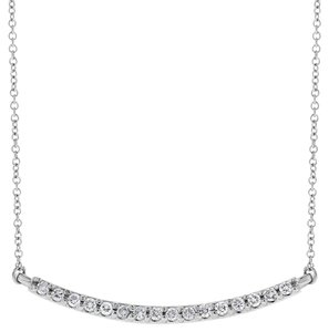 Other 0.21 Ct. Natural Diamond Curved Bar Pendant Necklace with Chain in 14k