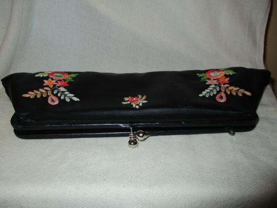 Arden B. Emboidered Leather Sequin Beads black multi Clutch Image 5