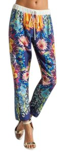 Clover Canyon Floral Drawstring Silky Elastic Casual Capri/Cropped Pants Multi
