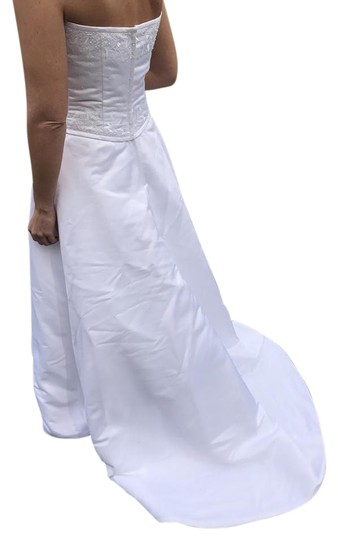 Forever Yours White Satin and Polyester Formal Wedding Dress Size 6 (S) Image 1