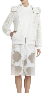 BCBGMAXAZRIA Fur Leather Embroidered White Jacket