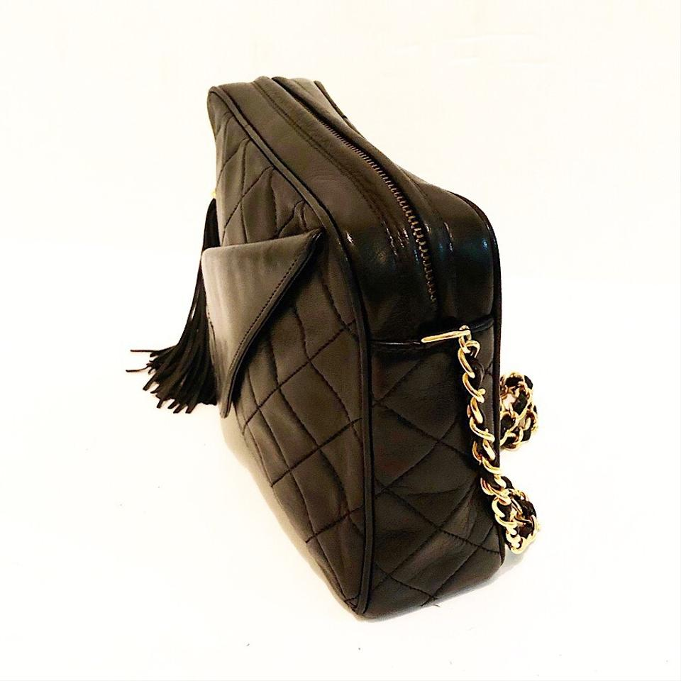 f3d711aa5395 Chanel Camera Vintage Quilted Folded Flap Black Lambskin Cross Body ...