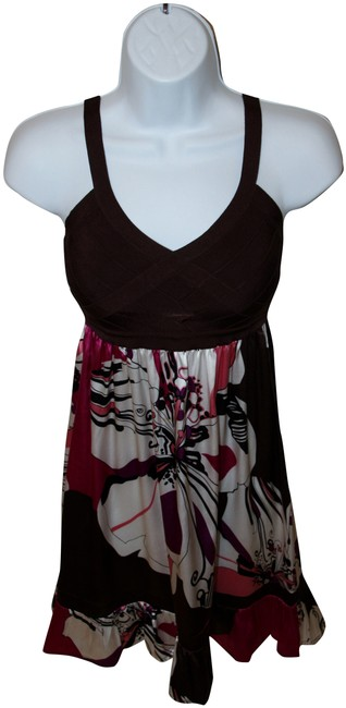 bebe short dress Pink, brown and white Silk Flowy Sundress on Tradesy