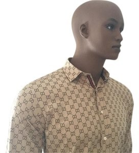 Gucci Button Down Shirt Tan/Brown