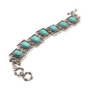 Other Antique Turquoise Square Bracelet with Toggle Closure