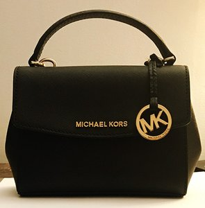 Michael Kors Kors Ava Saffiano Leather Satchel in Black