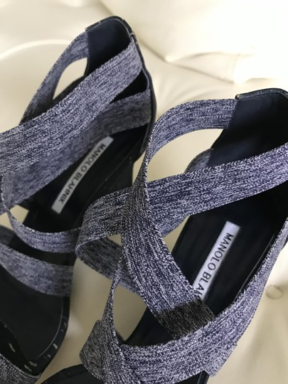 Manolo Blahnik The overall color tends toward a dark blue Wedges Image 2