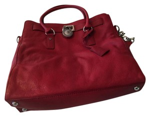 Michael Kors Osaffiano Leather Magnetic Closure Tote in Red