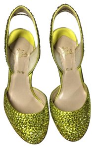 Christian Louboutin Crystal Slingback Lime Green Pumps