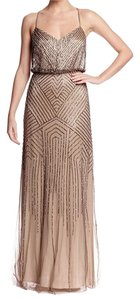 Adrianna Papell Mink Taupe Beaded Blouson Gown Formal Bridesmaid/Mob Dress Size 10 (M)