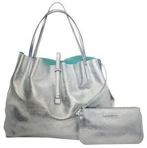 Tiffany & Co. & Co Large Suede Tote in Blue and Silver