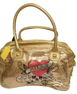 Ed Hardy Bowler Sequin Faux Leather Buckle Love Kills Slowly Roomy Rare Unique Jolly Roger Hobo Bag