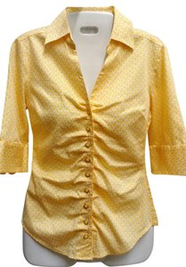New York & Company & Fitted Collared Shirt Button Down Shirt Yellow