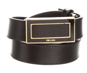 Prada Black leather Prada gold tone logo buckle belt L