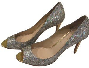 Enzo Angiolini gold with silver sparkle Pumps