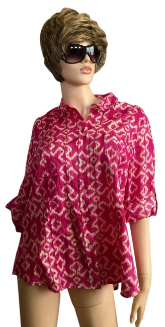 MICHAEL Michael Kors Mk Logo On Buttons Collared Cuffed Sleeve Button Down Shirt Pink Image 0