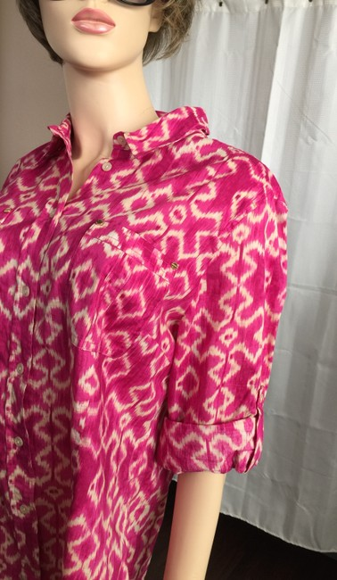 MICHAEL Michael Kors Mk Logo On Buttons Collared Cuffed Sleeve Button Down Shirt Pink Image 1