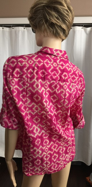 MICHAEL Michael Kors Mk Logo On Buttons Collared Cuffed Sleeve Button Down Shirt Pink Image 2