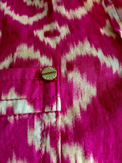 MICHAEL Michael Kors Mk Logo On Buttons Collared Cuffed Sleeve Button Down Shirt Pink Image 4